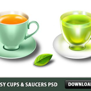 Glossy Cups & Saucers PSD