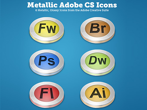 Glossy Metallic CS Icons PSD Web Resources, Web 2.0, PSD, Layered PSDs, Glossy, Glass, 3D,