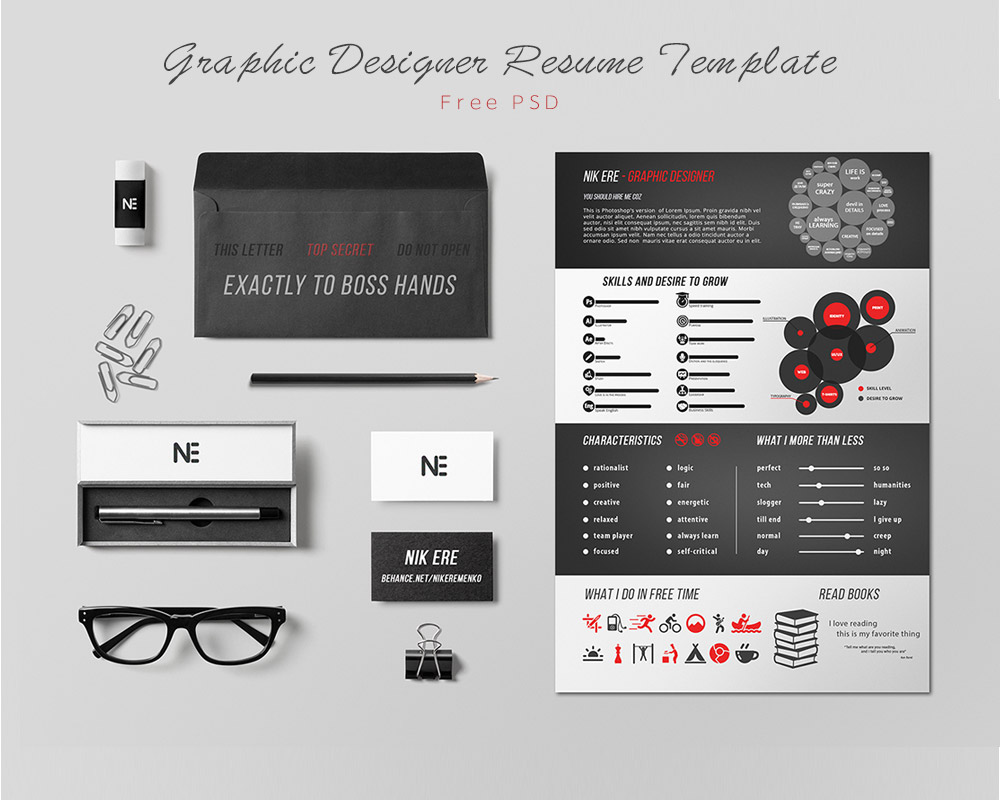 Graphic Designer Resume Template Free PSD Download - Download PSD