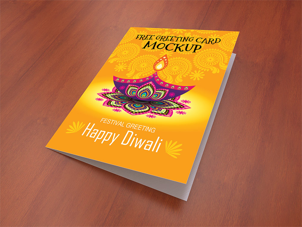Greeting Card Mockup Free PSD Template