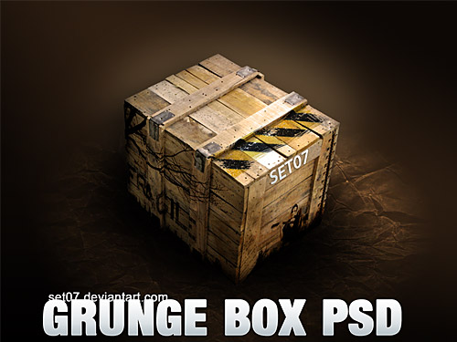 Grunge Box PSD Wooden, Wood, PSD, Objects, Layered PSDs, Grunge, Graphics, Box, 3D,