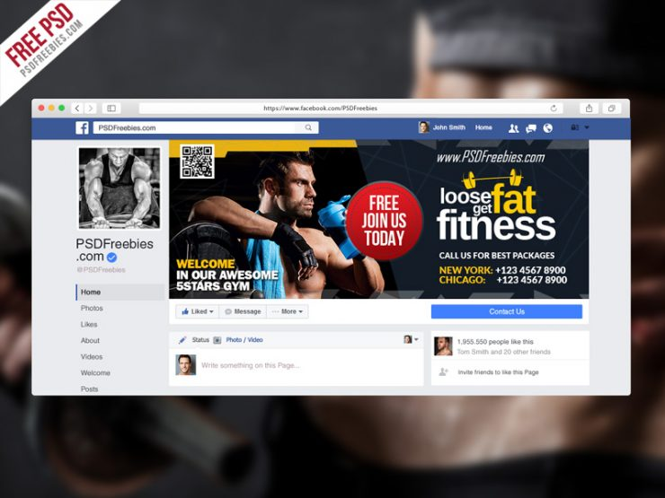Gym Fitness Facebook Fanpage Cover Template PSD