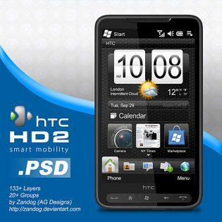 Free HTC HD2 Smartphone PSD