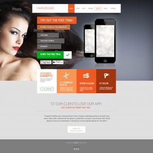 Hairdresser's Flat Website Template Homepage PSD