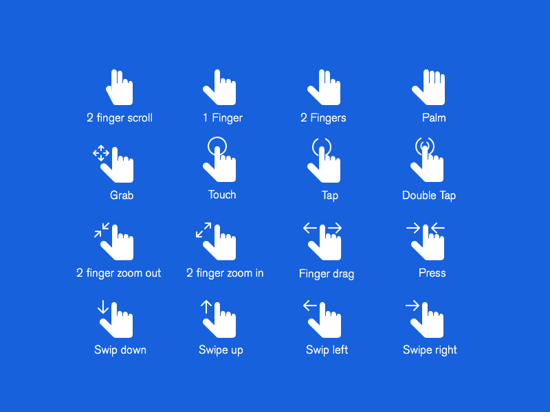 Hand Gestures Icons Set PSD Freebie