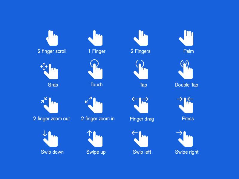 Hand Gestures Icons Set PSD Freebie