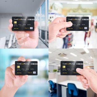 Hand Holding Credit Card Mockup Free PSD