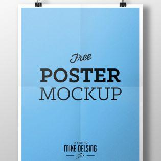 Hanging Paper Poster Mockup PSD