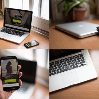 High Quality Realistic Macbook & Smartphone Free Mockups PSD