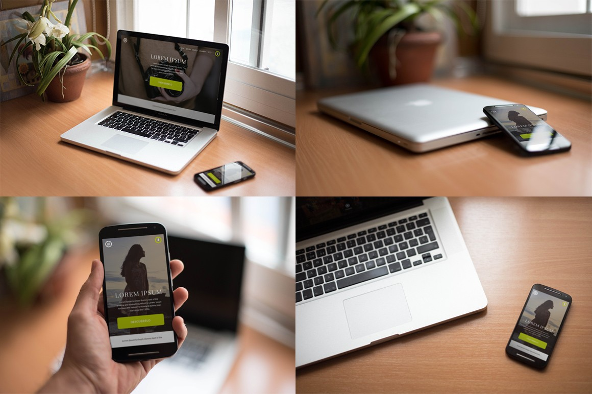 High Quality Realistic Macbook Amp Smartphone Free Mockups