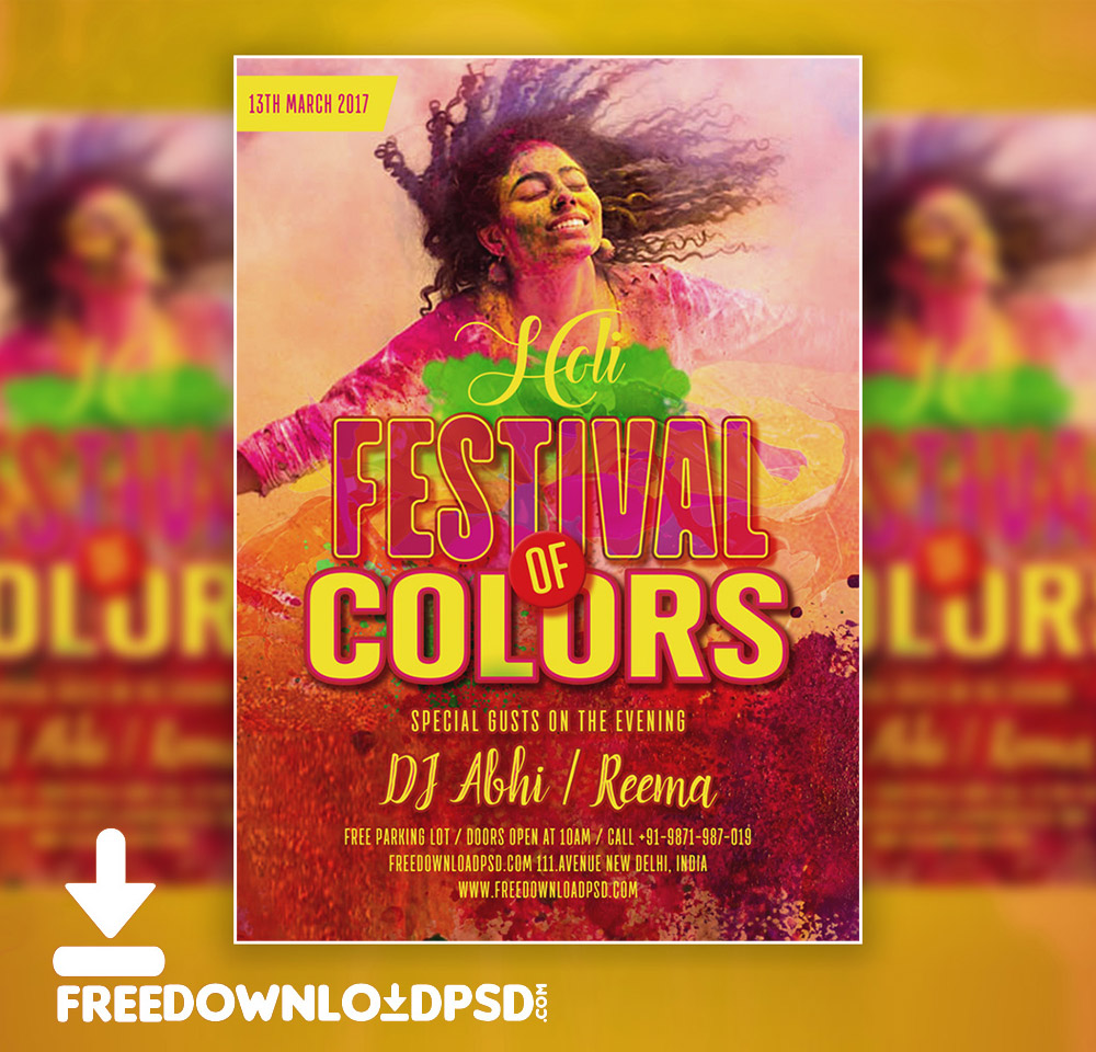 Holi Party Flyer Free PSD Download - Download PSD