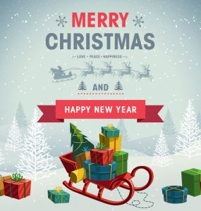 Holiday Christmas Background with Gift Boxes Free PSD