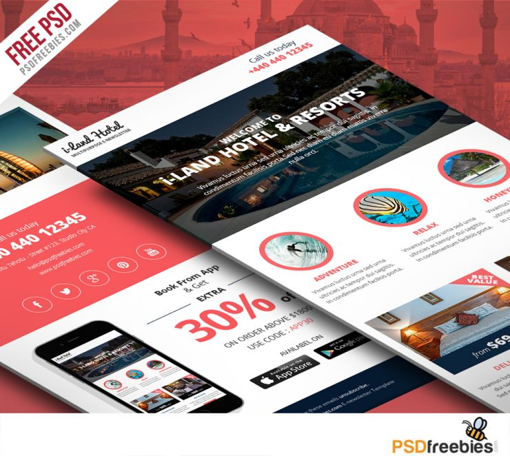 Hotel Deals and offers Newsletter Template Free PSD