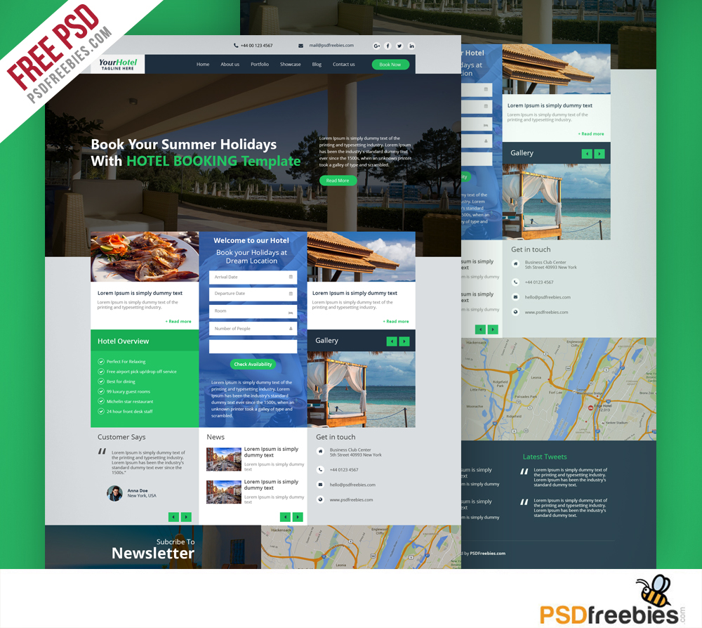 Hotel and resort booking website template free psd for Contact us template free download