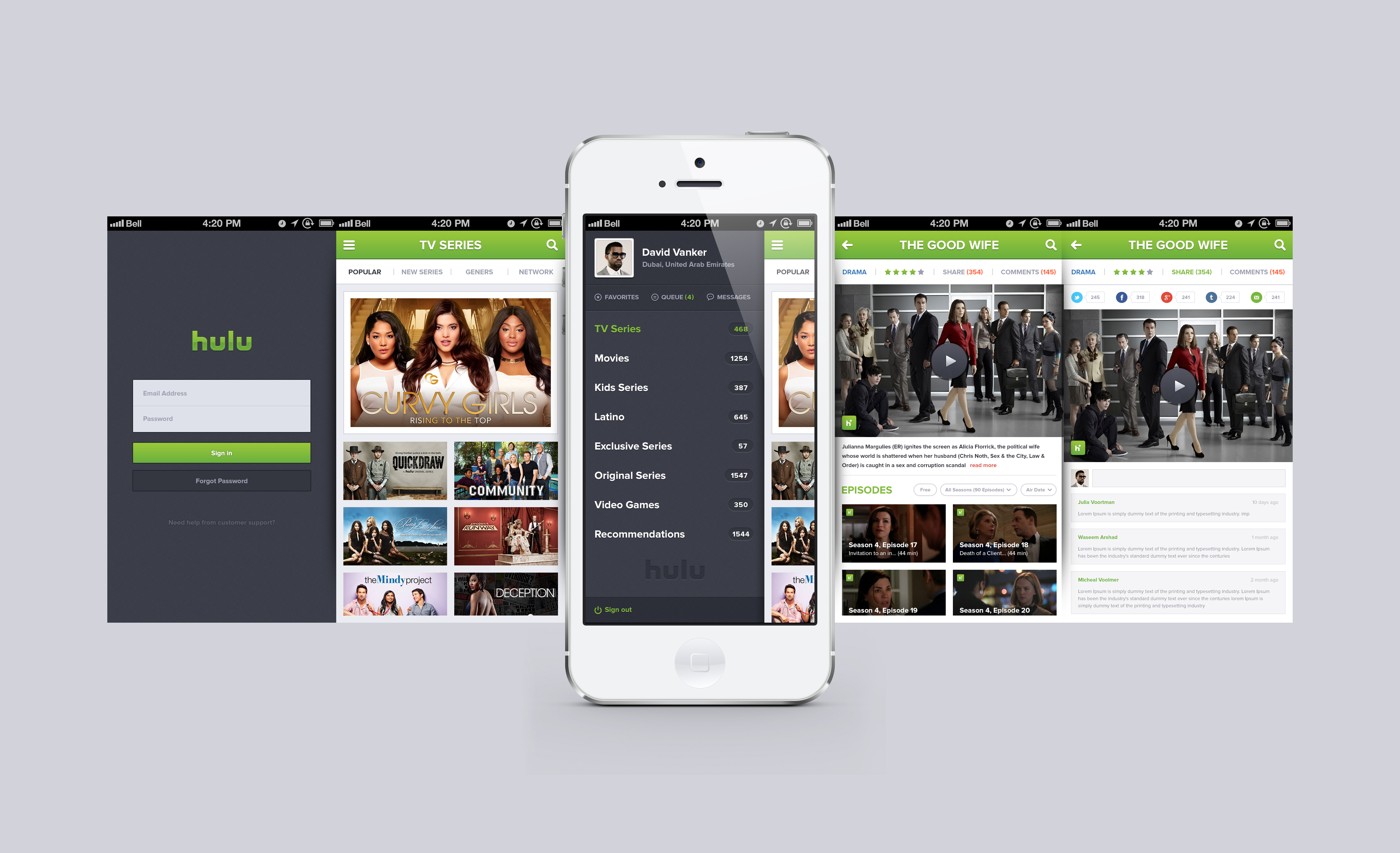 Hulu iPhone App reDesign Free PSD - Download PSD