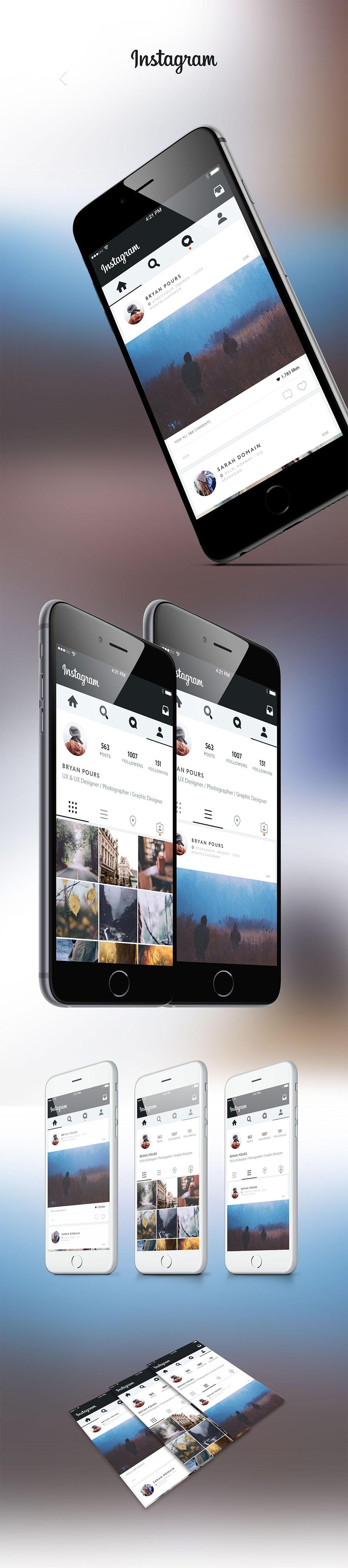 Instagram Application UI Revamp Concept Free PSD