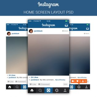 Instagram Mobile Application Template PSD