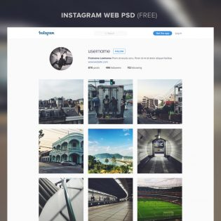 Instagram Website Template Free PSD