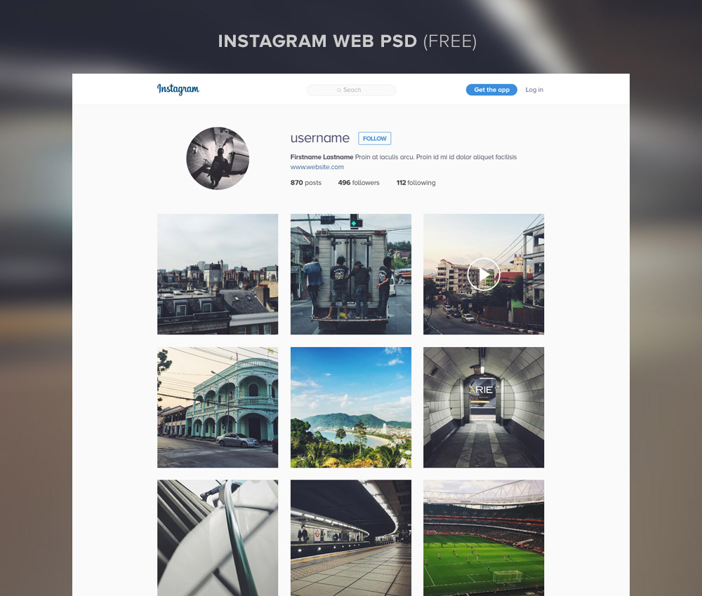 Instagram Website Template Free PSD Download - Download PSD