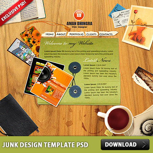Junk Design Template PSD www, Website Template, Website, Web Template, Web Resources, Template, Psd Templates, PSD Sources, psd resources, PSD images, psd free download, psd free, PSD file, psd download, PSD, Paper, Objects, Layered PSDs, Junk, Free PSD, Flash Template, download psd, download free psd, Dirty, Desk, Creative, Card,