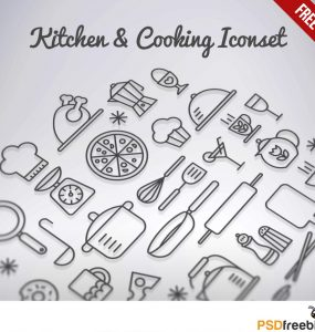 Kitchen & Cooking Outline Icons set Free PSD