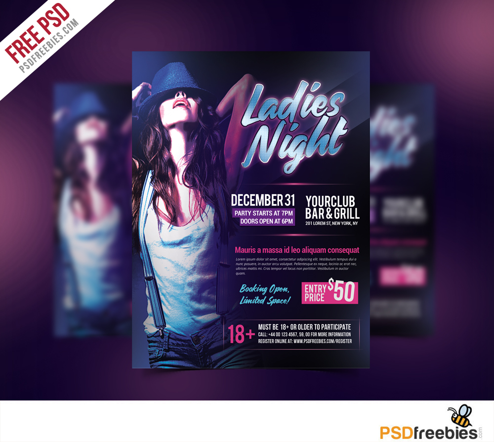 Ladies Night Party Flyer Free PSD Template
