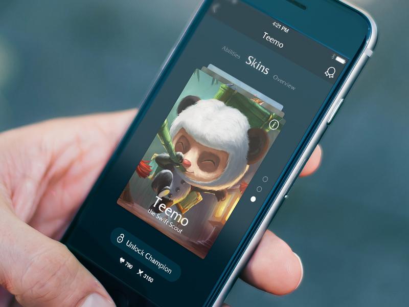League Of Legends Mobile App Concept Free PSD
