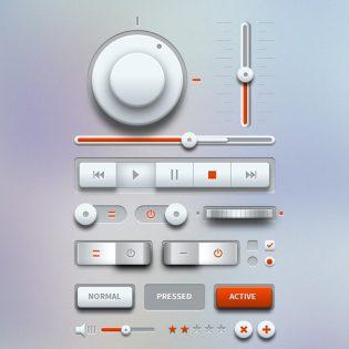 Light Music Player UI Design Kit PSD