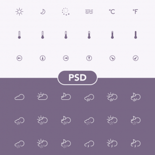 Line Weather Icons PSD Set