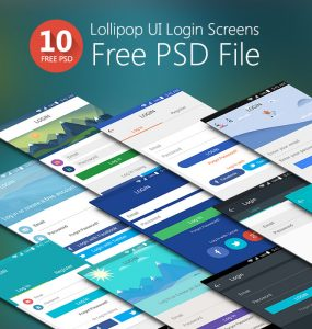 Lollipop UI Login Screens Free PSD Set