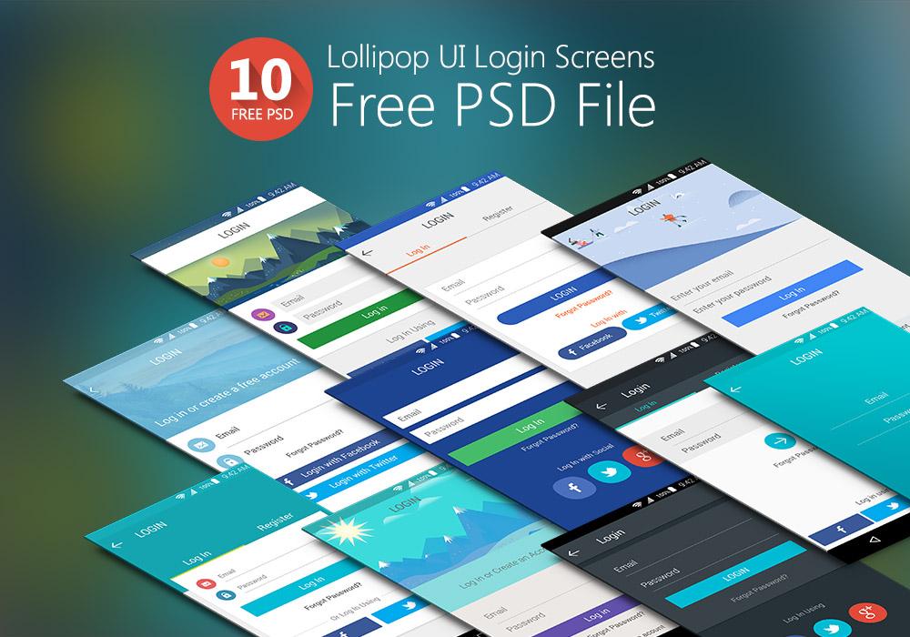 Lollipop UI Login Screens Free PSD Set