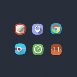 Long Shadow Flat Rounded Web Icons Set