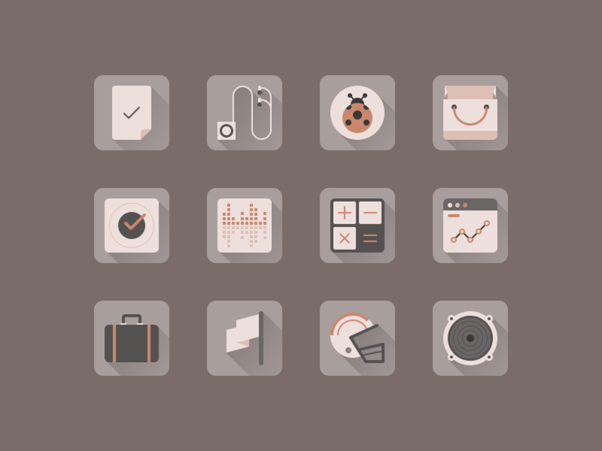 Long Shadow Flat Vintage Style Icon Set PSD