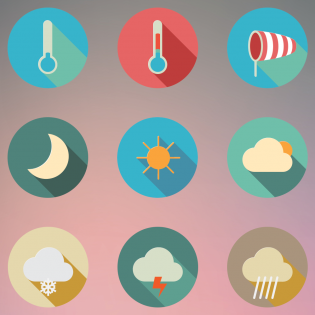 Long Shadow Flat Weather Iconset PSD