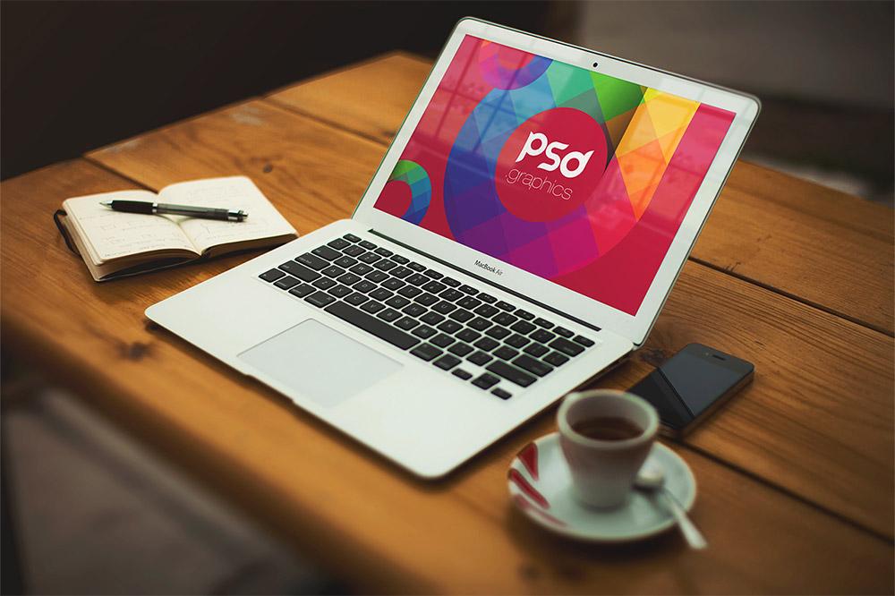 Macbook Air Mockup Free PSD Graphics Vol.2
