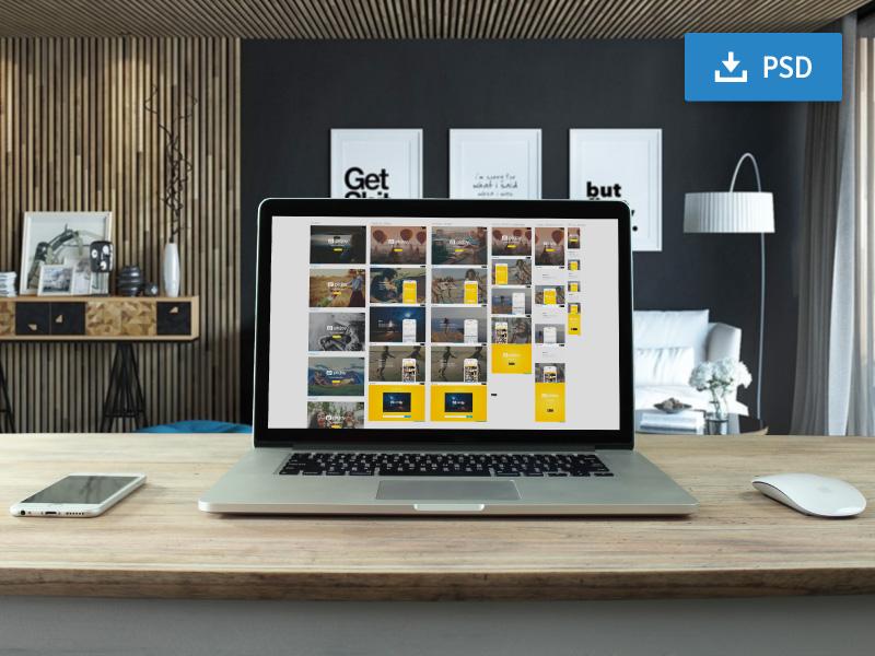 Macbook Pro Display Mockup PSD Freebie