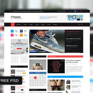 Magazine Blog Website Template Free PSD