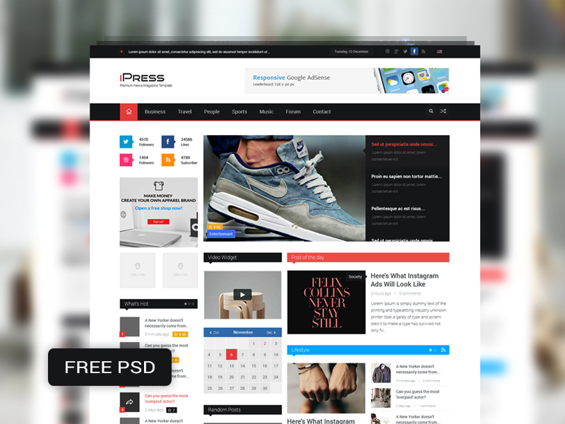 Magazine Blog Website Template Free PSD