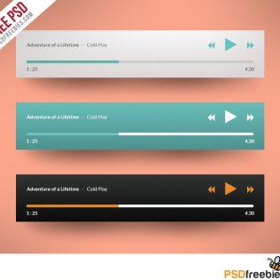 Media player Application Flat Design Free PSD