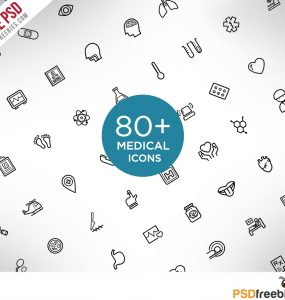 Medical and Science Outline Icon Set Free PSD