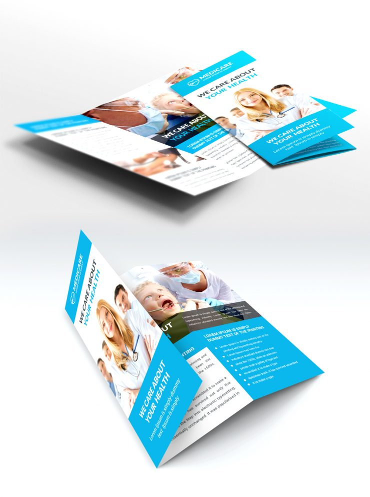 Medical care and hospital trifold brochure template free for Brochure template psd free download