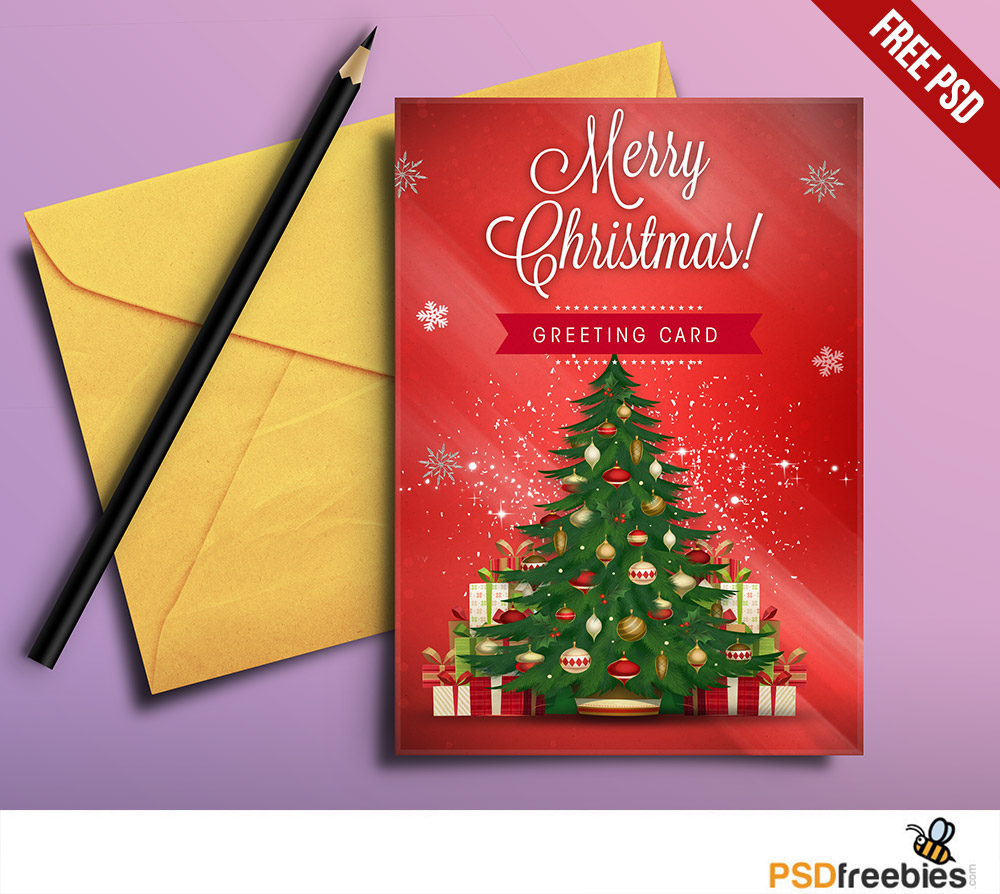 christmas greeting card free psd download download psd. Black Bedroom Furniture Sets. Home Design Ideas