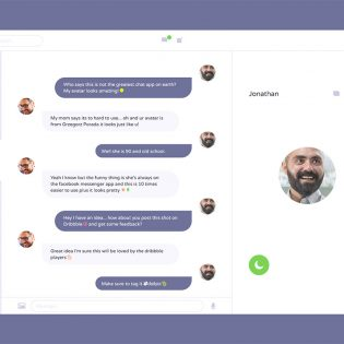 Messenger Application UI Design Free PSD