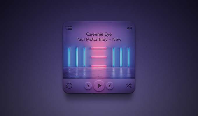Mini Rounded Music Player PSD