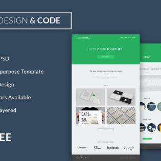 Minimal Flat Design PSD Website Template