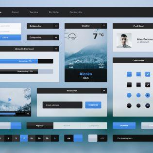 Minimal Flat UI Kit Free PSD File