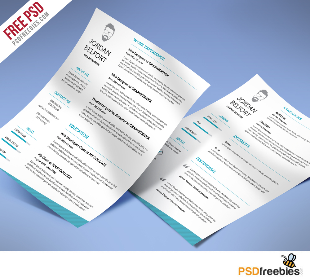 25  best free resume    cv templates psd