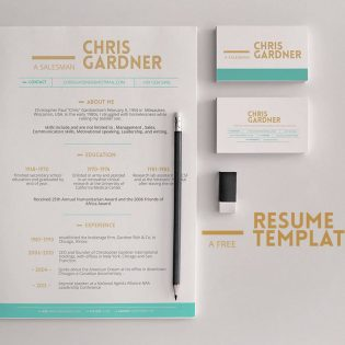 Minimalistic Free Resume and Business Card Template PSD