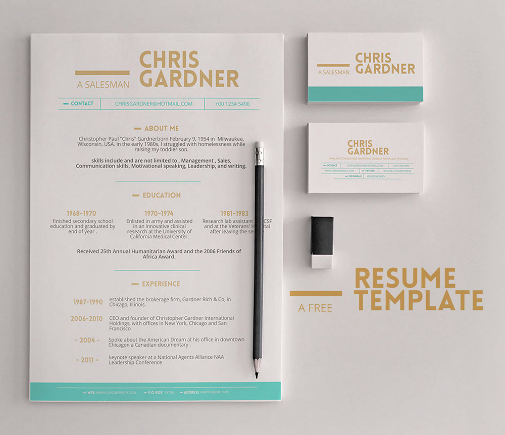 Minimalistic Free Resume and Business Card Template PSD Download