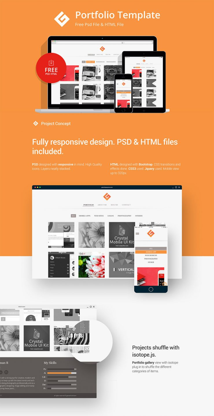 Minimalistic personal portfolio website template free psd for Free portfolio website templates
